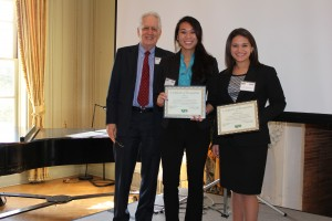 "Kelly Alexandre, Cynthia Sha, Kelsey Baire(not pictured), and Jessica Johnson(not pictured) won the ""best undergraduate paper for 2013"" at the NJCA annual meeting for co-authoring  ""Cross-National Coverage of Human Trafficking: A Community Structure Approach"""