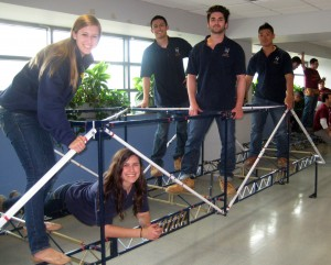 Alyssa Hartigan, Stephanie Rindosh, Max Schisler, Mike Soriano and Aaron Chan and pose with their winning bridge.