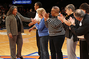 Beverly is applauded on court at the Garden on Jan. 4, 2015.