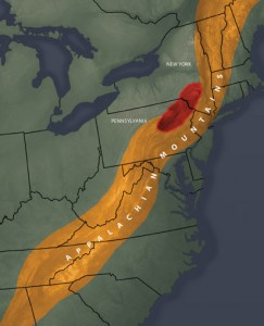 Benoit's team found that a dense block of volcanic rock forces the Appalachian Mountains to bend to the east through Pennsylvania, New Jersey, and New York. Photo: University of Rochester