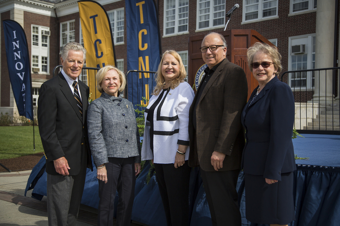 Former New Jersey Gov. Jim Florio '62, campaign co-chair Barbara Meyers Pelson '59, steering committee member Terri Martinac '72, '73, and campaign co-chair Allen Silk stand with President Gitenstein post-launch.