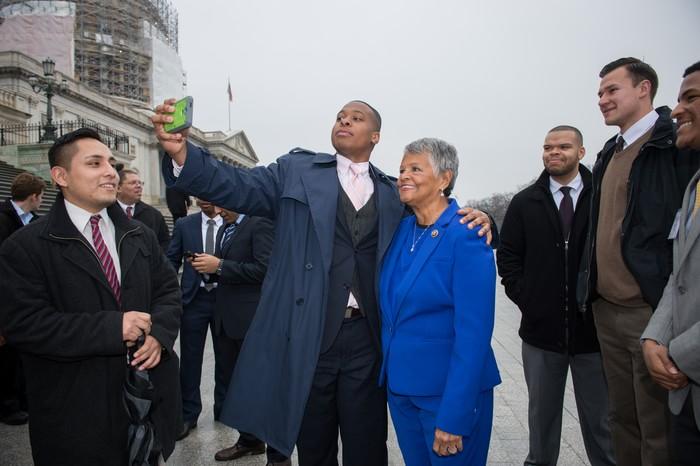 John Felder '17 snaps a selfie with U.S. Rep. Bonnie Watson Coleman (D-NJ, 12th Dist.)