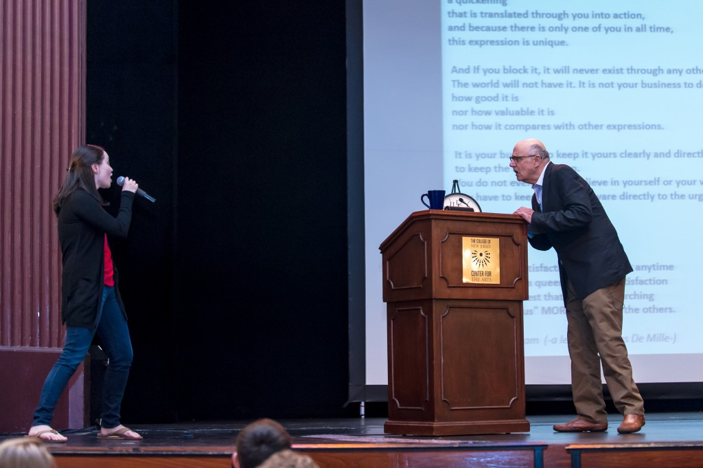 Tambor pushed students from the audience to express themselves with fervor. Photos by Craig Haas.