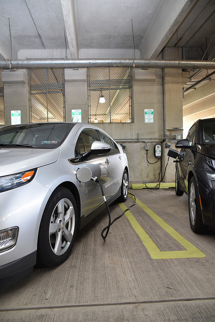 TCNJ partnered with PSE&G to bring electric vehicle charging stations to campus in 2016.
