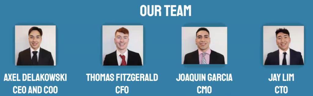 Team Zero: Axel Delakowski, CEO and COO; Thomas Fitzgerald, CFO; Joaquin Garcia, CMO; Jay Lim, CTO.